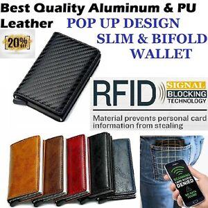 🔥Men's Wallet RFID Blocking Leather Aluminum Money Card ID Holder Slim Purse UK
