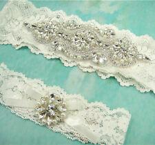 Hermoso Perlas Artificiales Liguero Marfil Boda Set Elástico Encaje