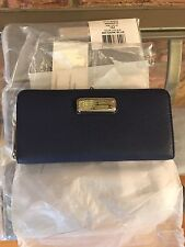 NWT Marc by Marc Jacobs New Q Slim Zip Continental Leather Wallet Dark Blue $198