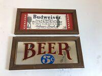 Vintage Budweiser Mirror Lot Of 2 Beer Mirrors