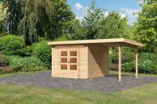 Karibu 28 mm Gartenhaus Kulpin 2 mit Fußboden und Anbaudach naturbelassen