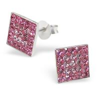 Girls Ladies Sterling Silver Pink Crystal Square Stud Earrings 8mm - Gift Boxed