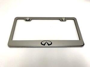 InfinitiLOGO Laser Style Stainless Steel License Plate Frame w/bolt caps