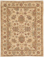 4X6 Hand-Knotted Farhan Carpet Traditional Ivory Fine Wool Area Rug D30603