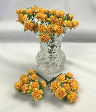 50 Gold Mulberry Paper Roses  Wedding Headpiece Scrapbooks Cards 1.5 cm Diam