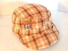 Hooters Peter Grimm Headwear Cadet Hat Orange Brown Tan Plaid Fitted Size Small