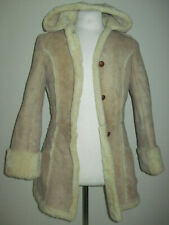 Ardney Suede Lamb Shearling Hooded Jacket Women Size 11/12 Vintage Leather 1970s