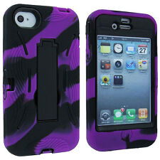 Purple and Black Camo 3 Piece Hybrid Case Cover with Stand for iPhone 4 / 4S