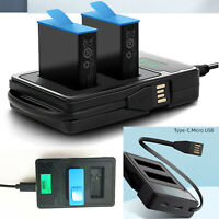 2 Ways Battery Charger LCD Display Charging Dock for GoPro Hero 9 Sports Camera