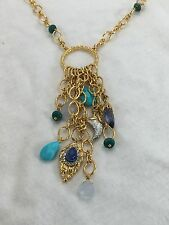 """NEW Alexis Bittar 32"""" Long Chain Link Crystal Turquoise Charm Necklace $295"""