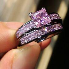 Fashion Princess cut Pink Sapphire Black Gold Plated Band Ring Set 2PCS US 6/7/8