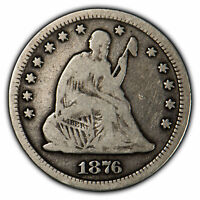 1876-CC 25c Seated Liberty Quarter - Carson City Coin - Fine+ Details - SKU-X517