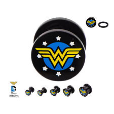 PAIR-Wonder Woman DC Comics Black Acrylic Screw On Plugs 05mm/4 Gauge Body Jew