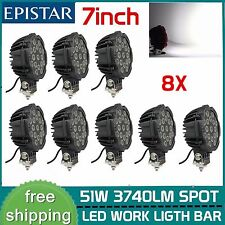 8X 7inch 51W Spot LED Light Offroad Round Work Roof Lamp Truck 4WD ATV 4X4 BLACK