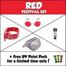 Red Festival Set Fancy Dress Bandana Lennon Glasses Glitter UV Paint Bumbag