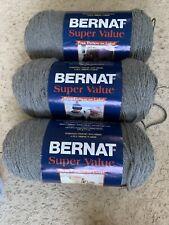 New listing lot of 3 bernat super value true grey 7 oz each