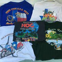 5 Mens Harley Davidson Tshirts XL HOG Rally Waco Texas 1991 Beaumont 2003 Tyler