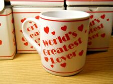 New Amscan World'S Greatest Lover.Sometimes 11 oz Ceramic Mug Red White Hearts
