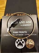 Alex and Ani PAW PRINTS Love Dog Charm Bracelet Bangle Russian Gold NEW TAGS
