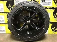 Hostile Alpha 22x14 8 Lug Wheels Wrapped Amp Mud Attacks 33/12.50r22 Tires Combo
