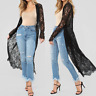 Women L Long Black Rose Lace Boho Kimono Cardigan CoverUp Jacket Coat Top Duster