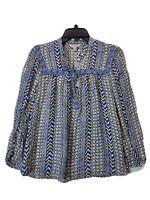 Women Lucky Brand Blue Beaded Long Boho Sleeve Top Blouse Shirt Size Small