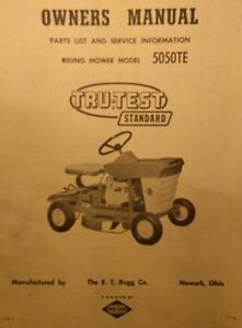 RUGG Tru-Test Standard 5050TE Riding Lawn Garden Tractor Owner & Parts Manual