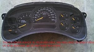 2003 to 2006 GM GMC CHEVROLET INSTRUMENT CLUSTER REPAIR SERVICE 2004 2005 03 06