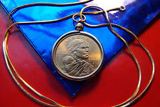 "Sacagawea Golden Bronze Coin Pendant on a 22"" Gold Filled Snake Chain."