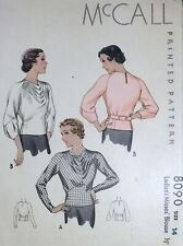 Vtg 1930s McCall 8090 Pleated Drape Front Back Belt Blouse Sewing Pattern 14