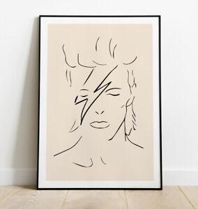 David Bowie Print, Minimal Line Art Print, David Bowie Art Print, Wall Art