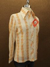 Super Cool Vtg 60s New NOS Butterfly Floral Contrast Stripe Hipster Casual Shirt