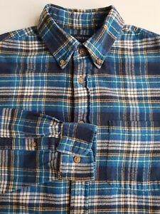 Lands End Plaid Flannel Shirt Blue Tartan Check Cotton Grunge *M* TR71