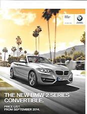 BMW 2 SERIES CONVERTIBLE  PRICE LIST CAR  BROCHURE SEPTEMBER 2014