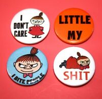 SET OF 4  THE MOOMINS LITTLE MY BUTTON PIN BADGES SNORK MAIDEN MOOMIN MAMA PAPA