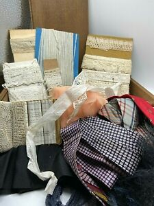 Antique lace, silk ties, millinery lace, broiderie anglaise + box