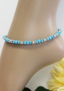 Glass Jewellery Tender Anklet Blue Turquoise Summer Handmade Variable #J090