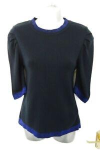 M&S LTD EDITION Size 8 Navy Blue Glitter Soft Stretchy Fine Knit Jumper NEW