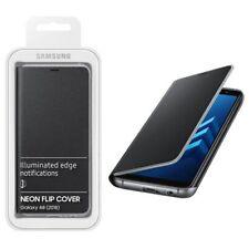 Samsung Custodia Originale Galaxy A8 2018 A530F Neon Flip Cover libro Case Nero