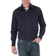 WRANGLER Mens EMBROIDERED YOKE Shirt - M - Black Stripe