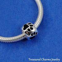 Silver PAW PRINTS Pet Lover LARGE HOLE BEAD CHARM fits EUROPEAN Bracelet