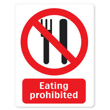 """Eating Prohibited No Food sign sticker decal 4"""" x 5"""""""