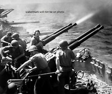 """40 MM Guns Firing U.S. Aircraft Carrier USS Hornet 8""""x10"""" World War II Photo #40"""