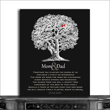 (CWA-1206) Personalized Mom and Dad Oak Tree Lovely Anniversary Poem Carved I...