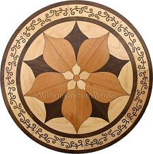 "36"" Wood Floor Medallion Inlay 92 Piece Ornate Flower kit DIY Flooring Table Box"