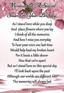 Memories Of Special Sister Graveside Poem Keepsake Card & Free Ground Stake F63