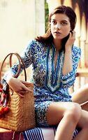 Tory Burch Tory Tunic Dress 6 Blue Floral Caftan Essential Swim Cover Up S M