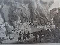 Gravure XVIII° VUE VOLCAN VESUVE MER NAPLES ITALIE VESUVIO ITALIA NAPOLI 1790 a