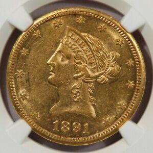1891-CC 1891 Liberty Head Eagle $10 NGC AU55