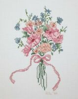 Floral Flower Bouquet Pink Ribbon Cross Stitch Completed Finished